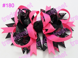 Wholesale Wholesale Funky Hair Bows - free shipping 35pcs boutique girl hair bows feather bows funky baby hair bows Valentine's Day bows