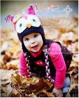 Wholesale Wool Owl Beanies - Wholesale - -NEW 2016 baby Handmade Wool cap owl hats Beanie Baby Mixed style hot Toddler Girl hats-JZXD