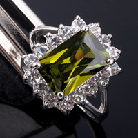 Wholesale gold emerald cut ring - Emerald Cut Green Peridot Crystal Lady Fashion Silvery Cocktail Ring Size 8 Gemstone 18KT GF J0321