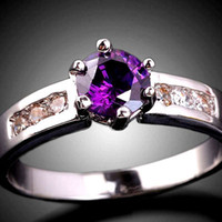 Wholesale Gold Tone Set Rings - Purple Amethyst Lady Cocktail Dress Ring Fashion Jewelry Size 7 Silver Tone Gold GF Gemstone J0363
