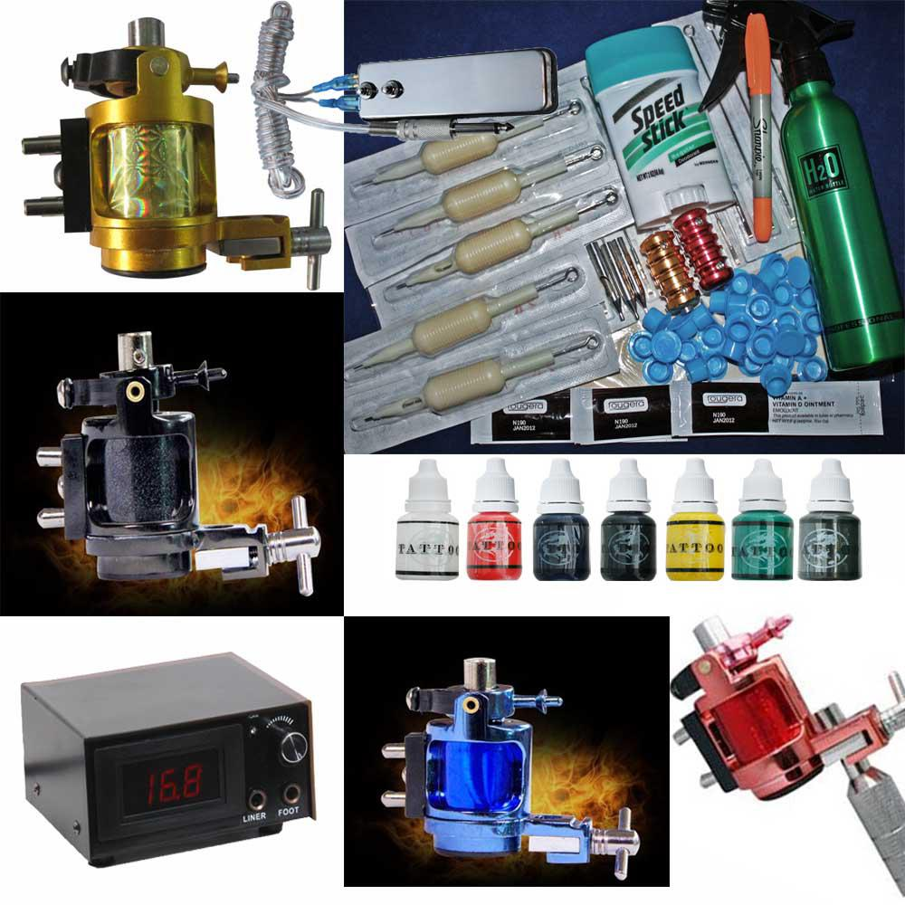Super 4 Rotary Tattoo Machine Gun Kits 7 Color Inks LED Power Supply Needles Tip Grips Pen Tools