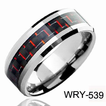 Fashion Jewelry Tungsten Rings Two Tone Carbon Fiber Wedding Bands