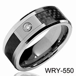 Wholesale Tungsten Carbon Fiber Wedding Band - FASHION JEWELRY Tungsten Rings Diamond &Carbon Fiber wedding bands for men engagement Rings