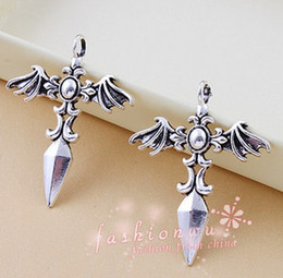 Wholesale Ancient Sword - wholesale-DIY 20pcs Ancient silver plated sword-shaped alloy pendant cross wings for necklace