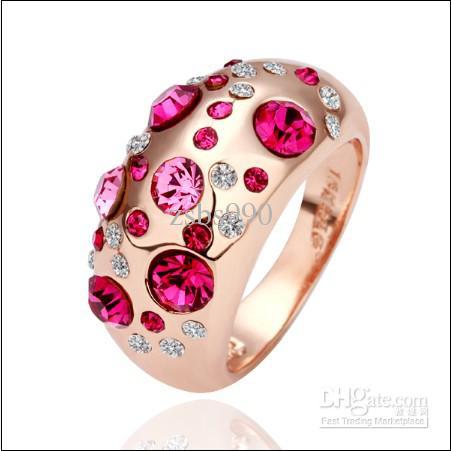 Bästsäljande kristallpläterad 18k Rose Gold Diamond Ring Smycken Mode Vacker Tjej Gratis Frakt