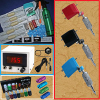 Wholesale ink print machine - 3 Rotary Tattoo Machine Gun Kits 7 Inks LED Power Supply Printing Soap Transfer Pen Needles Tools