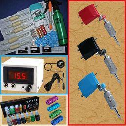 Wholesale Ink Transfers - 3 Rotary Tattoo Machine Gun Kits 7 Inks LED Power Supply Printing Soap Transfer Pen Needles Tools