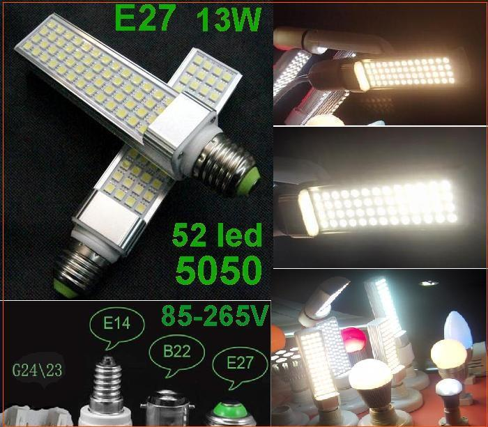 30pcs 13W Warm white 52 led 5050 SMD E27 E14 B22 G24 Lamp Bulb Light Cool white/White 85V-265V LED Horizon Down Lights
