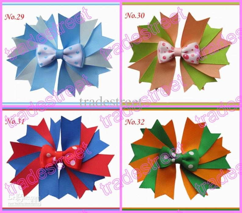 """4.5"""" Girls Novel A-Swallowtail hair bows girl boutique hair Clips Mix color is avaiable Good quality and competive price"""