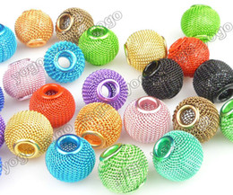 Wholesale Religious Halloween Crafts - Wholesale 100PC Mix Colors 14mm DIY Beads,Lots Basketball Wives Earrings Mesh Spacer Beads Craft Findings MB1201