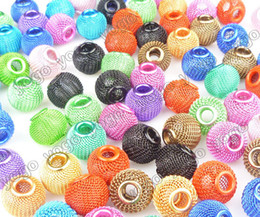 Wholesale Craft Basketball Beads - Wholesale 14mm 300pc Basketball Wives Inspired Hoop Earrings Mesh Beads Craft Findings Mix Colors,Metals Loose Beads