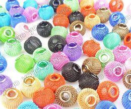 Wholesale Love Hoop Plating Earrings - Wholesale 14mm 300pc Basketball Wives Inspired Hoop Earrings Mesh Beads Craft Findings Mix Colors,Metals Loose Beads