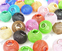 Venda por atacado 300pc Mix Colors 20mm Metals Beads, Basketball Wives Hoop Earrings Mesh Beads Craft Findings Acessórios para jóias