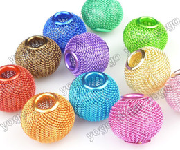 Wholesale Metal Basketball Bead - Wholesale 100PC Mix Colors 20mm Handmade DIY Beads,Lots Basketball Wives Earrings Mesh Spacer Beads Craft Findings MB1202