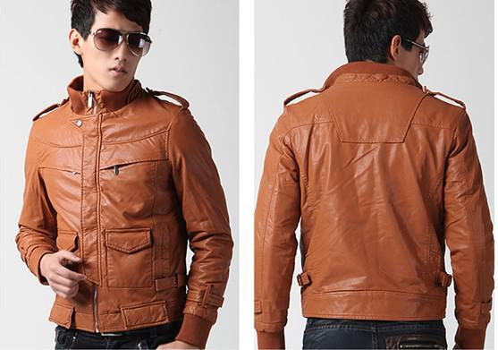 Men's Leather Jacket Men Men Cells Washed Skin Warm T025 37 Size ...