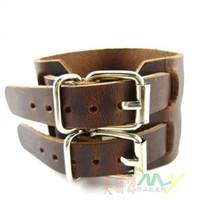 ingrosso braccialetti fatti a mano-I nuovi braccialetti di cuoio genuini di 100% PUNK braccialetti doppio degli uomini possono spaccare il fermaglio di cinghia 8pcs / lot handmade