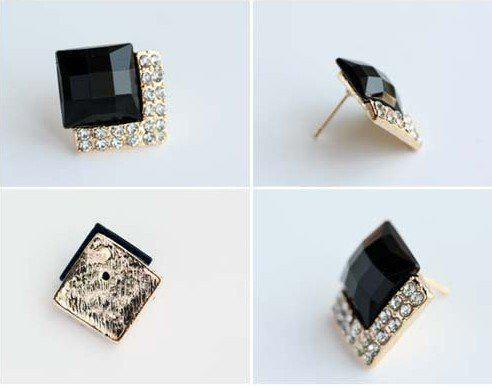 New Classic Vintage Luxury Black Gemstone Earrings Fashion Simulated Diamond Ear Stud Women's