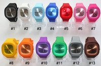Wholesale square jelly - 100pcs Hot Fashion Square Jelly Watch Unisex Quartz Sports Silicone Wrist Watches Candy SS.com 12 Colors DHL Free Shipping