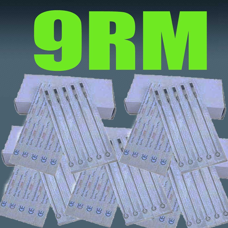 9RM 100x aiguilles en acier stérilisées par tatouage rondes taille Magnum pour kits de pistolet pour tatouages de qualité supérieure
