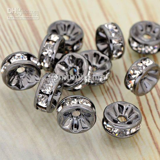 6MM Wheel-Shaped Metal Black Plated, Clear Crystal Rhinestone Rondelle Spacer Beads Findings-1000PCS