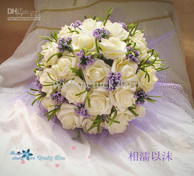 Silk wedding bouquets wholesale beautiful wedding bouquet perfect cute ivorypurple popular wedding bouquet throw bouquet bridesmaid bouquets mightylinksfo Choice Image