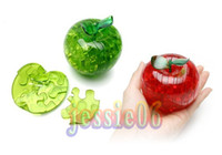 Wholesale Crystal Puzzle Green Apple - 3D 3d Stereo crystal puzzles 3 D educational toys crystal apple stereo puzzles red green two colors