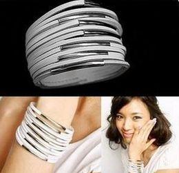 Commercio all'ingrosso - Braccialetto Chain Bangle Braccialetti Wristband PU Leather JewelryStrap 13 strati Bracciale PD-1 da