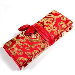Rouleaux de bijoux en tissu en Ligne-Fleur Tissu De Soie Rouleau Bijoux De Voyage Cosmétique Sac Femmes Cadeau Pliant Maquillage Sac De Rangement Portable 3 Zipper Poche Cordon Sac