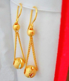Wholesale 24k Gold Chain Earring - Delicate chain -good luck beads- earrings! 24K gold-plated earrings! Bride earrings!5pairs(10pcs)