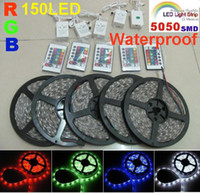 10M 5050 SMD RGB LED Strip Light 5M 150led Lampe étanche + IR Remote 5m 30LED / m Festival LED strip