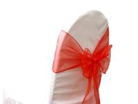 красный свадебный банкет стул оптовых-50 Шт. Красный Органзы Стул Крышка Стула Луки Луки Свадьба Банкетный Стул Украшения Мерцающий Бесплатная доставка