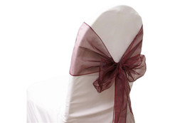 Gold Banquet Chair Covers Canada - 50Pcs Wine (Burgundy) Organza Sash Chair Cover Bow Bows Wedding Party Banquet Shimmering Event Supplies 20X288cm