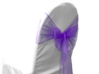 ingrosso sedie di banchetto viola-Purple Organza Chair Cover Sash Bow Decorazioni per banchetti per matrimoni 50 Pz. / Lotto
