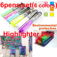 Wholesale POP Highlight Pen Marker Fluorescence box Red Green Blue Yellow White Pink