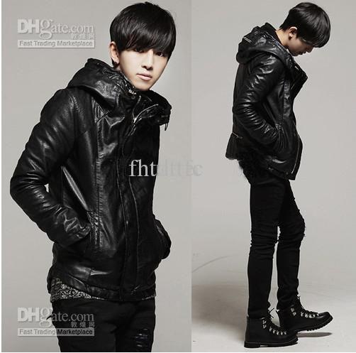 Korean Slim Men&39s Leather Jacket With Hooded Full Zipper Plus