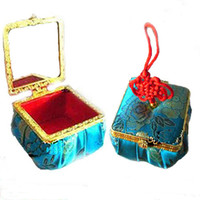 Wholesale Small Decorative Gift Boxes - Handicraft Decorative Small Wedding Party Favor Candy Boxes Chinese Style Silk gift packaging Cases 10pcs lot mix color free shipping