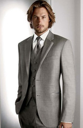 Wholesale Red Tuxedo Blazer - Custom Made Light Grey Mens Business Suit Prom Party Clothing Suits Groom Tuxedos Blazer A:318