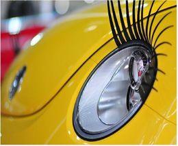 Wholesale Automotive Decal - New super cute Automotive eyelashes car accessories 3D Eyelash Auto Decals Stickers Parts 4 pair lot