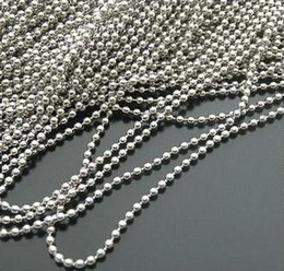 Wholesale sports bead necklace - Wholesale- 100pcs Silver Plated Alloy Dog Tags Ball Chain Necklaces 2.4mm Bead stainless bead chain Dog Tags FG1