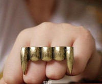 Wholesale Teeth Double Ring - Wholesale-Fashion jewelry Punk double rings Small demon vampire teeth cross double rings,