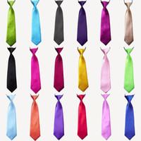 bebek kravat toptan satış-100 Adet Erkek Bebek Okul Düğün Elastik Kravat boyun Kravatlar-Katı Düz renkler 32 Çocuk Okul Kravat erkek