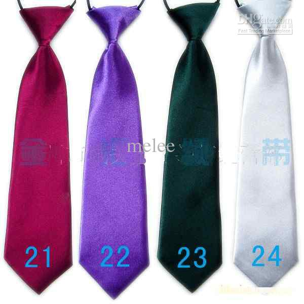 100 st Baby Jongen School Bruiloft Elastische Stropdassen Neck Ties-Solid Plain Colors 32 Kinderschool Tie Jongen