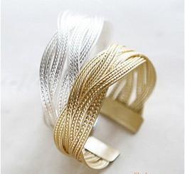 Wholesale Gold Silver Jewellery Sets - Wholesale Women Silver Gold Metal twist Chic jewellery Open Size Cuff Bangles bracelet Bracelets knitting bracelet ZS4
