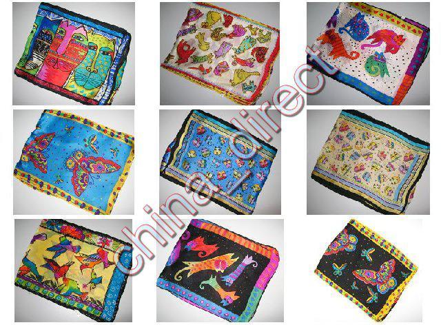 Cutie Animal Design 100% Silk Scarf Scarves Silk Scarf Kobiety Dziewczyna Kid 20 sztuk / partia Nowy # 1898