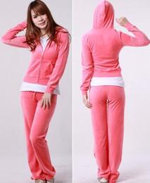 Wholesale Wholesale Velour Pants - Pure Pink Women Tracksuit Velour Hoodie Pants S M L XL MIX LOT OF 10PCS
