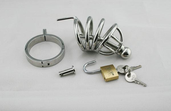 Najnowsza męska stal nierdzewna Bondage Cock Penis Cage z Cewnik Chastity Pas Urządzenie BDSM Gay Fetish Dorosły Sex Toy Product A502