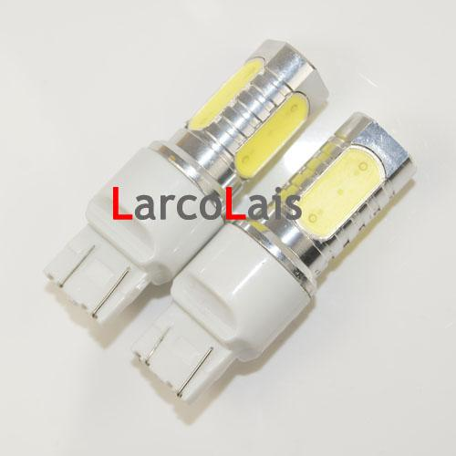 2 x 7443 7440 T20 6Wハイパワースーパー明るい車LEDターンテールブレーキの電球ライトランプDC 12Vホワイト