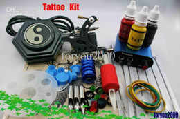 Wholesale Min Power Supply - Top Quality MIN Power Supply Tattoo Machine Kit 3 Inks 20 Needles 3 Tip Tube Grip Accessory