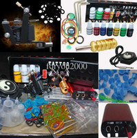 Wholesale Tattoo Supplies Ink Cups - Super Red Hand Size Power Supply 7 Inks Tattoo Machine Kit 20 Needles 100 Ink Cups Tool Accessory