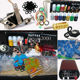 Wholesale Low Price Power Tools - Lower Price Red MIN Power Supply System Tattoo Machine Kit 7 Inks 20 Needles 100 Ink Cups Tools